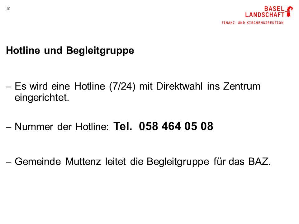 10 Hotline und Begleitgruppe  Es wird eine Hotline (7/24) mit Direktwahl ins Zentrum eingerichtet.