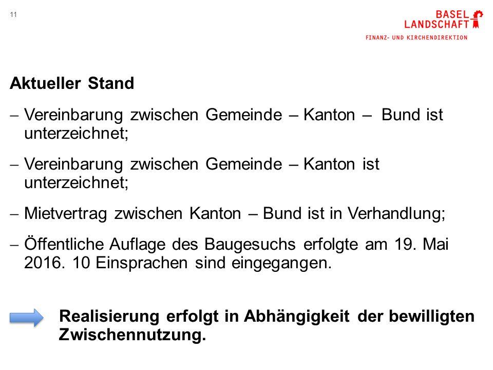 11 Aktueller Stand  Vereinbarung zwischen Gemeinde – Kanton – Bund ist unterzeichnet;  Vereinbarung zwischen Gemeinde – Kanton ist unterzeichnet;  Mietvertrag zwischen Kanton – Bund ist in Verhandlung;  Öffentliche Auflage des Baugesuchs erfolgte am 19.