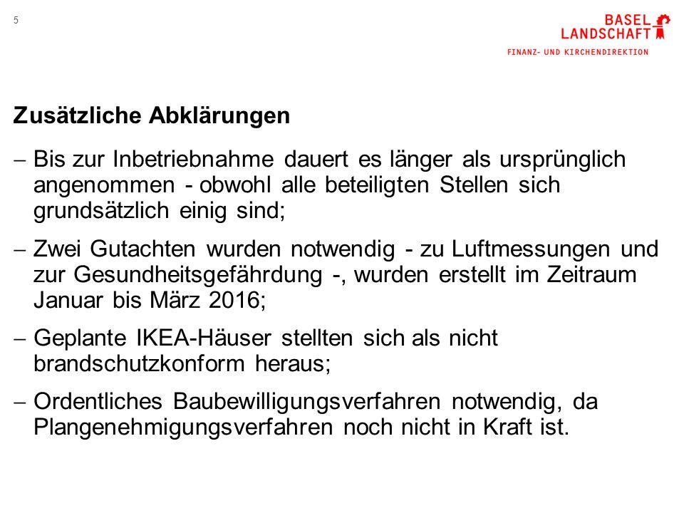 6 Untersuchung betreffend Altlasten Gefährdungsabschätzung Luft  Proben über 12 Headspace-Gläschen und 9 Passivsammler https://www.baselland.ch/Newsdetail- Home.309165.0+M53c49a7bad4.html Gefährdungsabschätzung menschliche Gesundheit  Untersuchung durch den Kantonsarzt;  Untersuchung durch das Schweizerische Tropeninstitut (Swiss TPH); Keine Gefährdung der Luft und der Gesundheit.