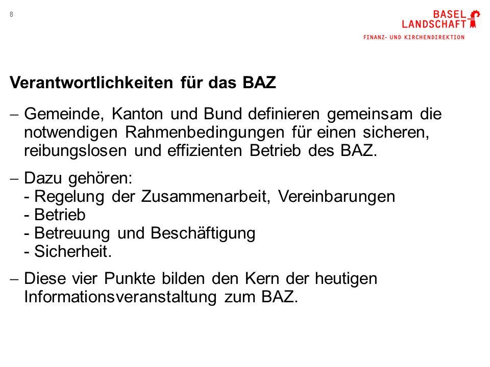 8 Verantwortlichkeiten für das BAZ  Gemeinde, Kanton und Bund definieren gemeinsam die notwendigen Rahmenbedingungen für einen sicheren, reibungslosen und effizienten Betrieb des BAZ.