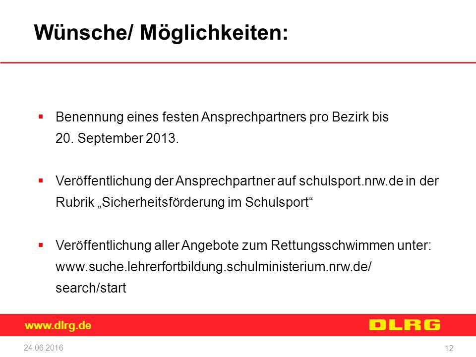 www.dlrg.de 24.06.2016 12 Wünsche/ Möglichkeiten:  Benennung eines festen Ansprechpartners pro Bezirk bis 20. September 2013.  Veröffentlichung der