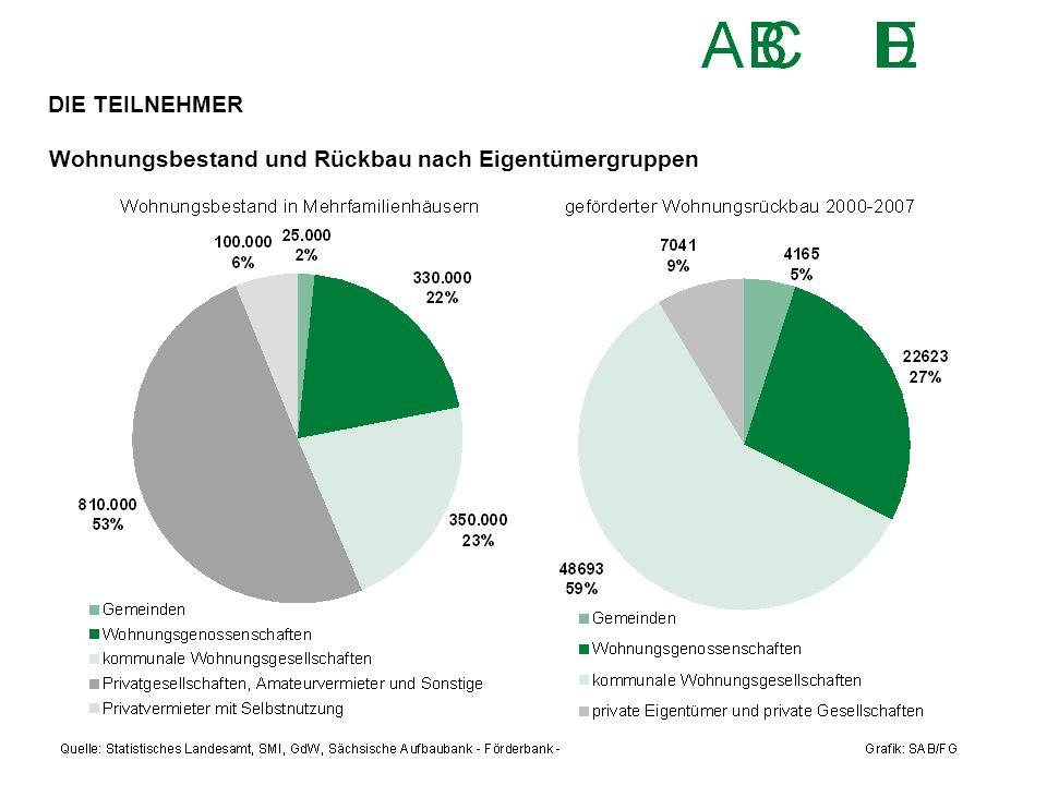 Wohnungsbestand und Rückbau nach Eigentümergruppen DIE TEILNEHMER