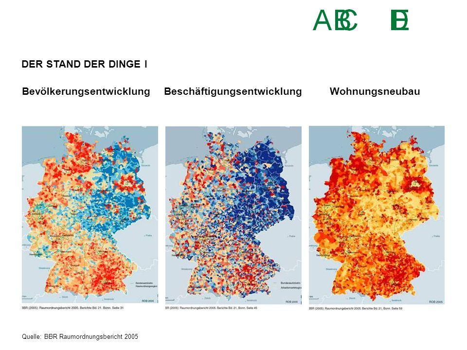 BevölkerungsentwicklungBeschäftigungsentwicklungWohnungsneubau Quelle: BBR Raumordnungsbericht 2005 DER STAND DER DINGE I