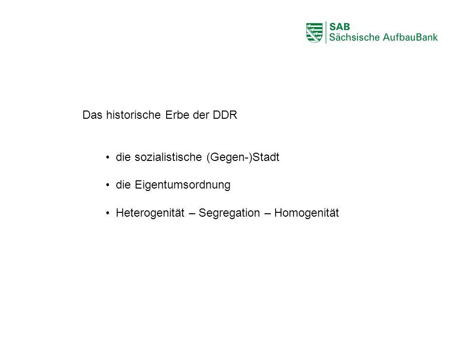 ABCDEF Das historische Erbe der DDR die sozialistische (Gegen-)Stadt die Eigentumsordnung Heterogenität – Segregation – Homogenität