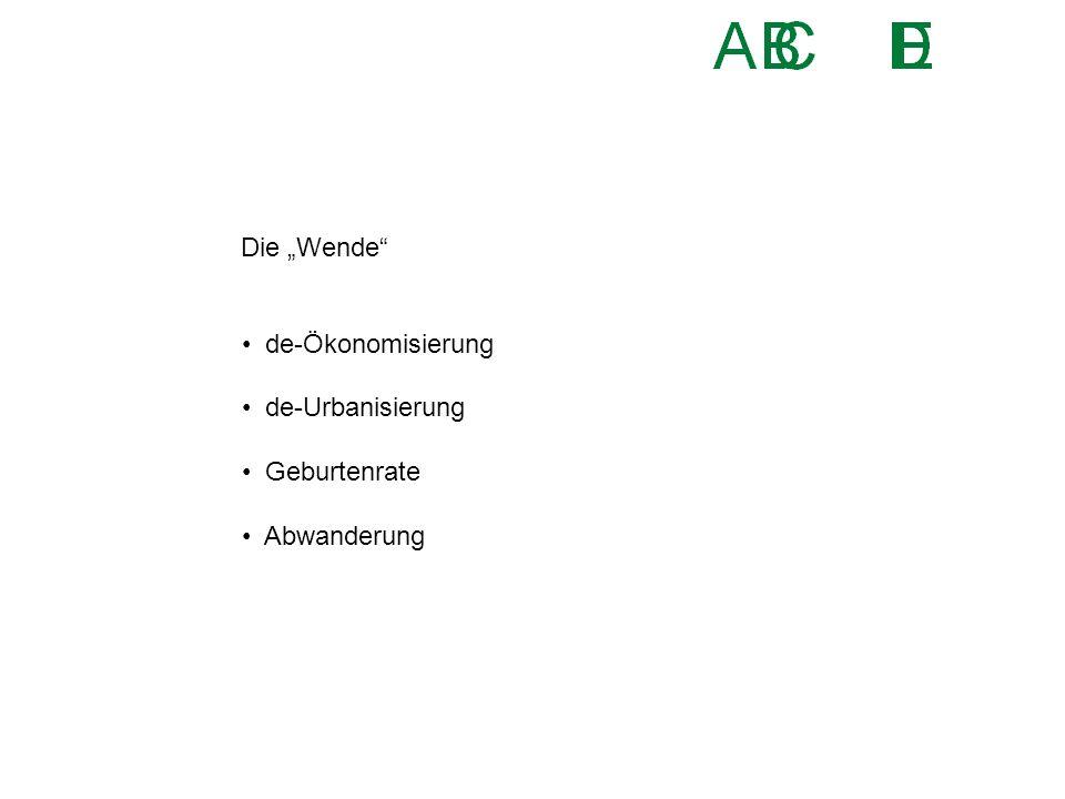 """Die """"Wende"""" de-Ökonomisierung de-Urbanisierung Geburtenrate Abwanderung"""