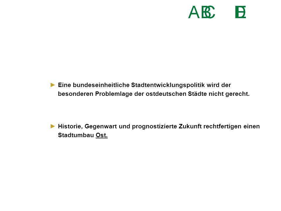 ►Eine bundeseinheitliche Stadtentwicklungspolitik wird der besonderen Problemlage der ostdeutschen Städte nicht gerecht. ►Historie, Gegenwart und prog