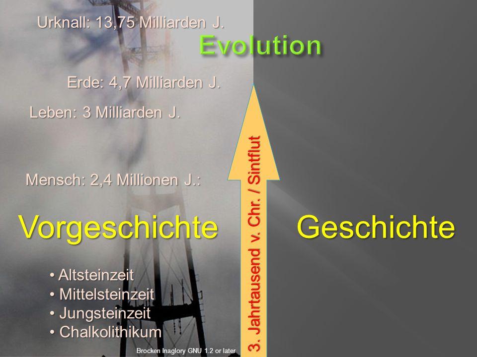 GeschichteVorgeschichte Urknall: 13,75 Milliarden J.