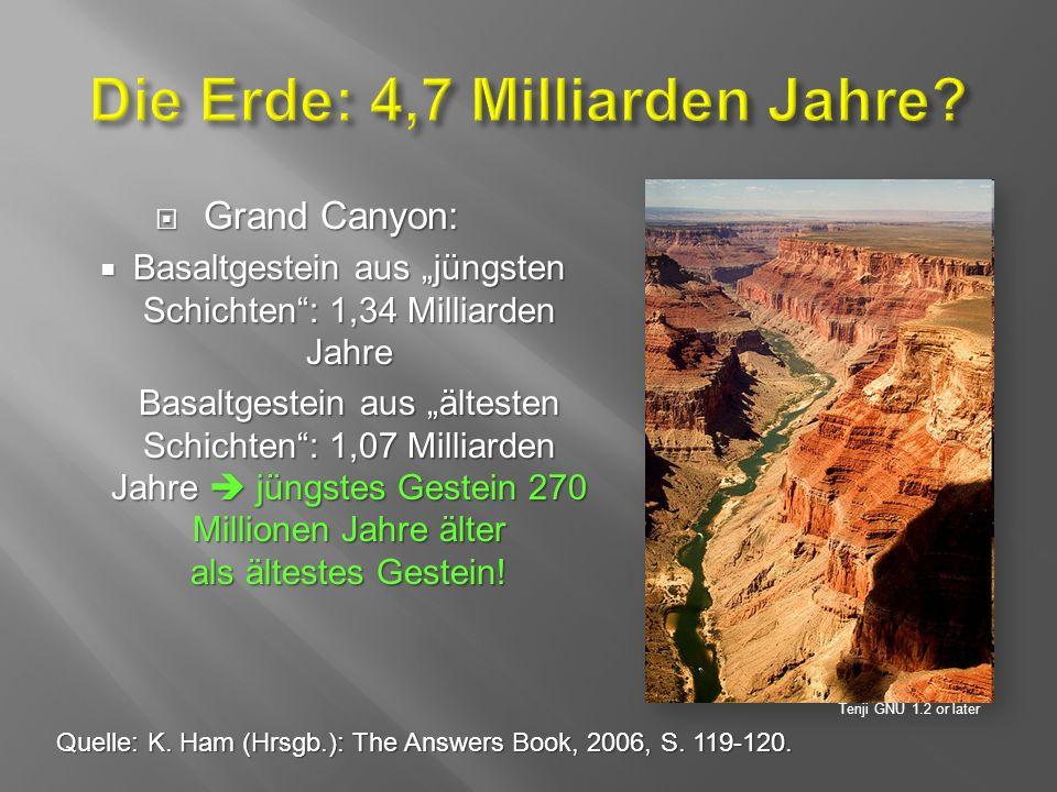 """ Grand Canyon:  Basaltgestein aus """"jüngsten Schichten : 1,34 Milliarden Jahre Basaltgestein aus """"ältesten Schichten : 1,07 Milliarden Jahre  jüngstes Gestein 270 Millionen Jahre älter als ältestes Gestein."""
