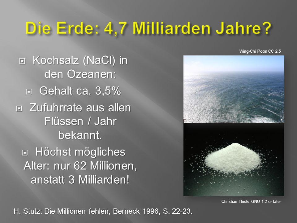  Kochsalz (NaCl) in den Ozeanen:  Gehalt ca. 3,5%  Zufuhrrate aus allen Flüssen / Jahr bekannt.