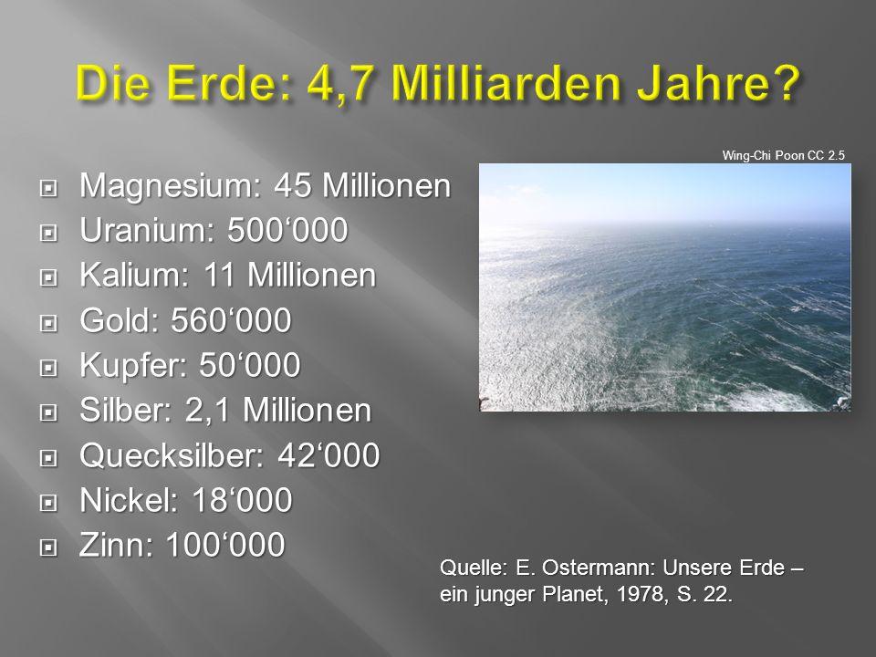  Magnesium: 45 Millionen  Uranium: 500'000  Kalium: 11 Millionen  Gold: 560'000  Kupfer: 50'000  Silber: 2,1 Millionen  Quecksilber: 42'000  Nickel: 18'000  Zinn: 100'000 Wing-Chi Poon CC 2.5 Quelle: E.