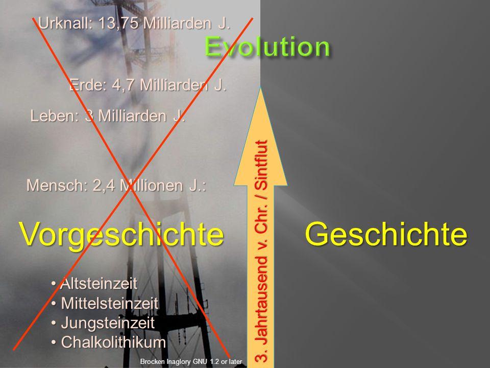 3. Jahrtausend v. Chr. / Sintflut GeschichteVorgeschichte Urknall: 13,75 Milliarden J.