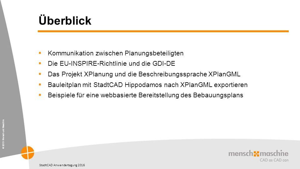 © 2013 Mensch und Maschine StadtCAD Anwendertagung 2016 Überblick  Kommunikation zwischen Planungsbeteiligten  Die EU-INSPIRE-Richtlinie und die GDI-DE  Das Projekt XPlanung und die Beschreibungssprache XPlanGML  Bauleitplan mit StadtCAD Hippodamos nach XPlanGML exportieren  Beispiele für eine webbasierte Bereitstellung des Bebauungsplans