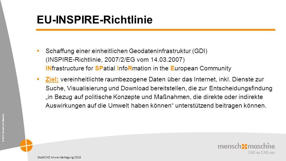 © 2013 Mensch und Maschine StadtCAD Anwendertagung 2016 EU-INSPIRE-Richtlinie  Schaffung einer einheitlichen Geodateninfrastruktur (GDI) (INSPIRE-Richtlinie, 2007/2/EG vom 14.03.2007) INfrastructure for SPatial InfoRmation in the European Community  Ziel: vereinheitlichte raumbezogene Daten über das Internet, inkl.