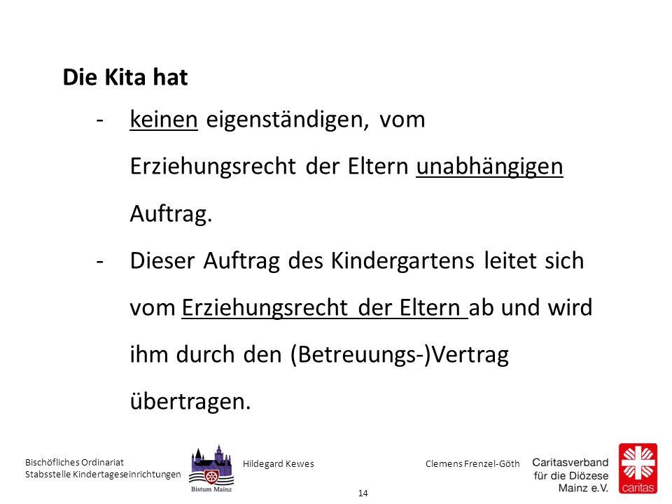 Clemens Frenzel-GöthHildegard Kewes Bischöfliches Ordinariat Stabsstelle Kindertageseinrichtungen 14 Die Kita hat -keinen eigenständigen, vom Erziehungsrecht der Eltern unabhängigen Auftrag.