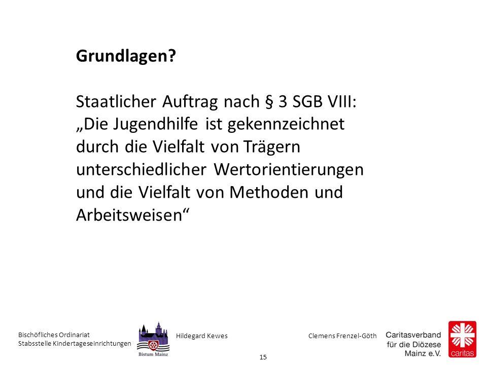 Clemens Frenzel-GöthHildegard Kewes Bischöfliches Ordinariat Stabsstelle Kindertageseinrichtungen 15 Grundlagen.