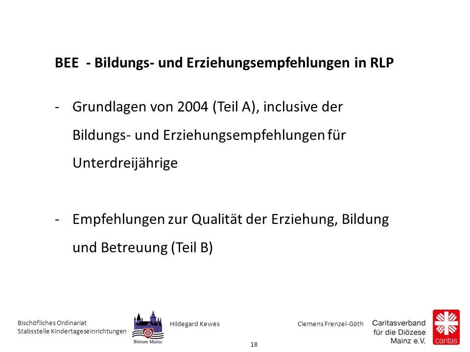 Clemens Frenzel-GöthHildegard Kewes Bischöfliches Ordinariat Stabsstelle Kindertageseinrichtungen 18 BEE - Bildungs- und Erziehungsempfehlungen in RLP -Grundlagen von 2004 (Teil A), inclusive der Bildungs- und Erziehungsempfehlungen für Unterdreijährige -Empfehlungen zur Qualität der Erziehung, Bildung und Betreuung (Teil B)