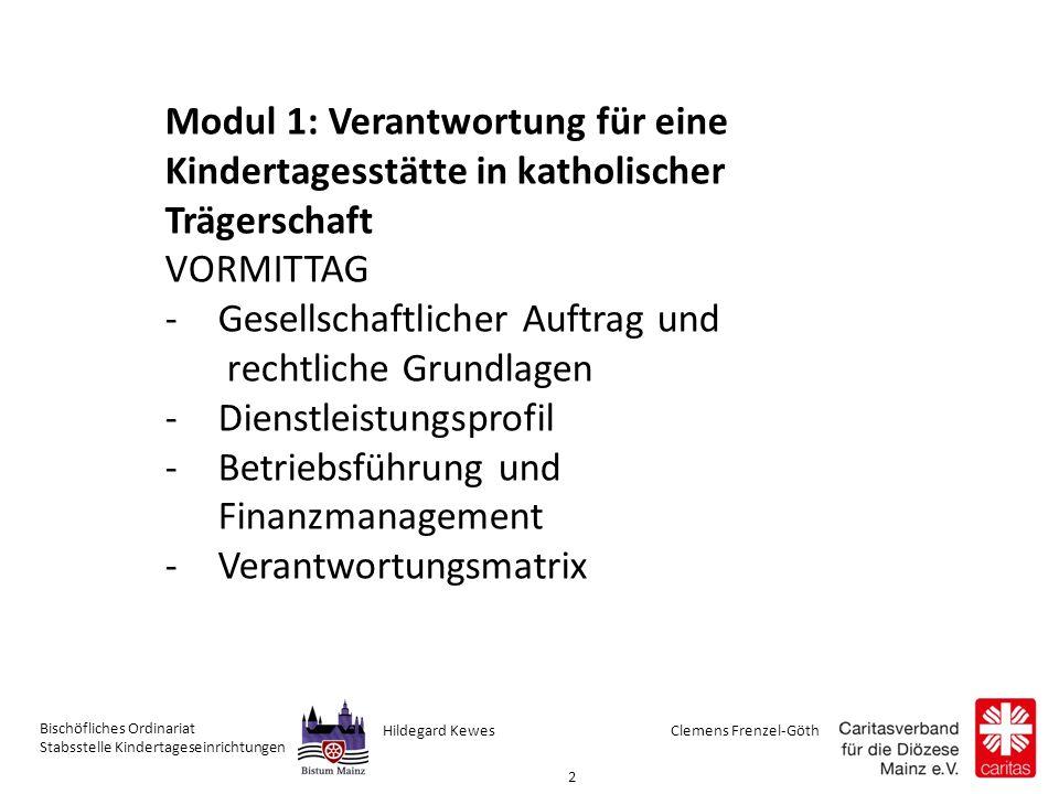Clemens Frenzel-GöthHildegard Kewes Bischöfliches Ordinariat Stabsstelle Kindertageseinrichtungen 13 Bildungs- und Erziehungsauftrag Die Kindertageseinrichtung -gehört zur Kinder- und Jugendhilfe -ist sozialpädagogisch ausgerichtet -hat Erziehungs-, Bildungs- und Betreuungsauftrag -ergänzt die Erziehung in der Familie