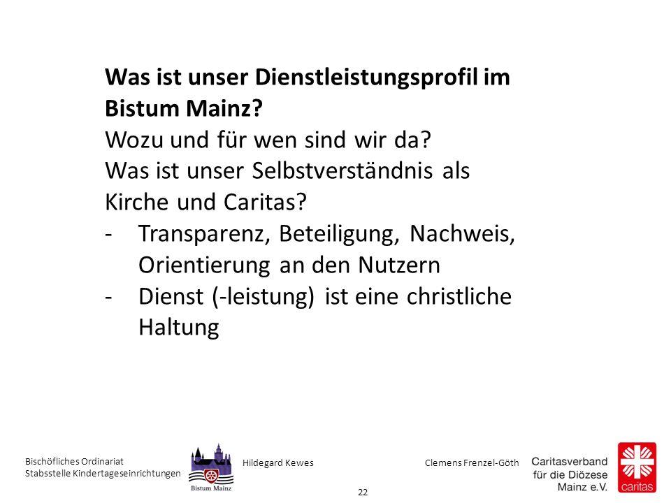 Clemens Frenzel-GöthHildegard Kewes Bischöfliches Ordinariat Stabsstelle Kindertageseinrichtungen 22 Was ist unser Dienstleistungsprofil im Bistum Mainz.
