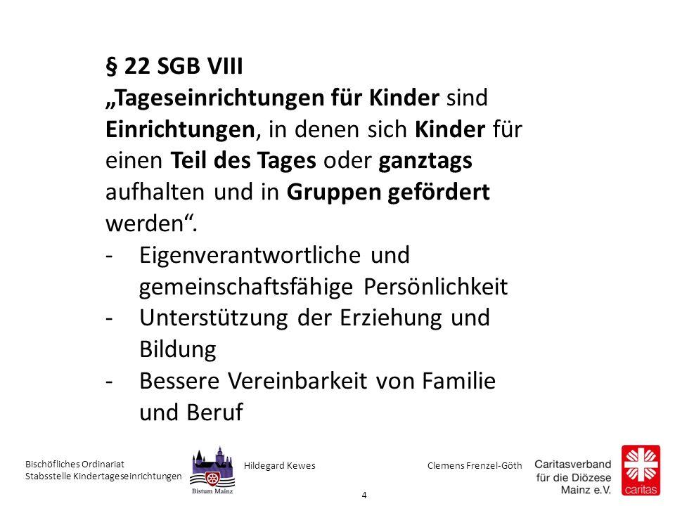 Clemens Frenzel-GöthHildegard Kewes Bischöfliches Ordinariat Stabsstelle Kindertageseinrichtungen 25 Bundesebene BMFSFJ: Bundesministerium für Familie, Senioren, Frauen und Jugend (Bsp.