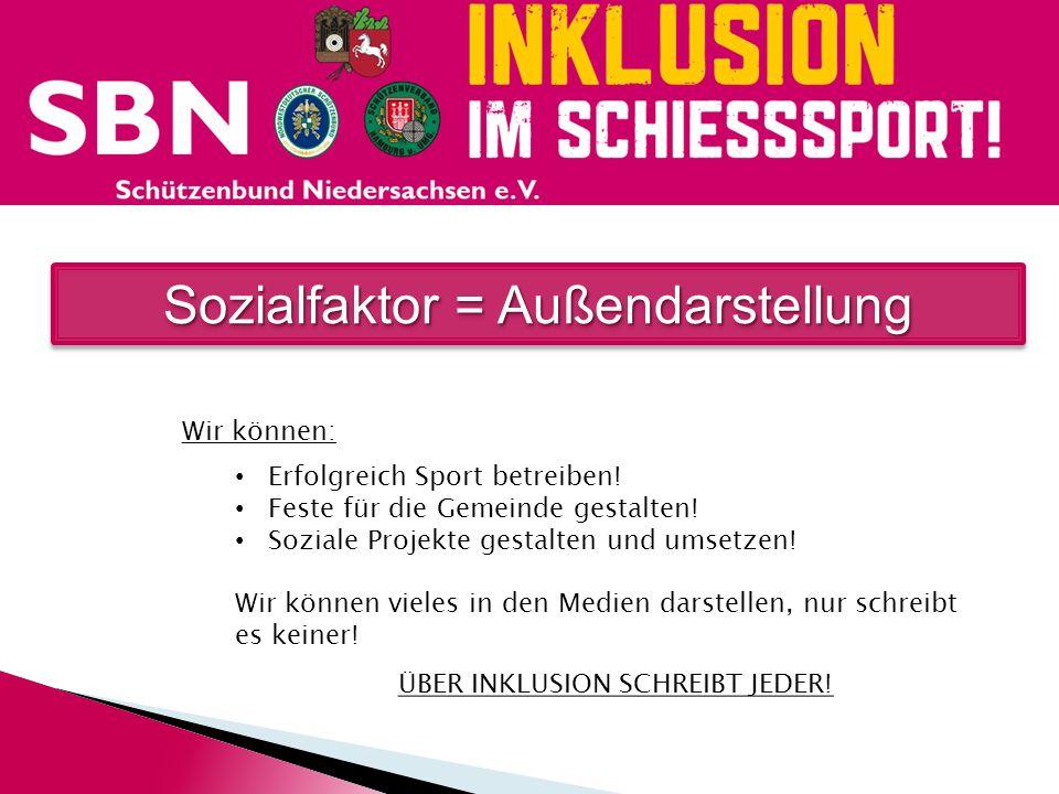 Sozialfaktor = Außendarstellung Wir können: Erfolgreich Sport betreiben! Feste für die Gemeinde gestalten! Soziale Projekte gestalten und umsetzen! Wi