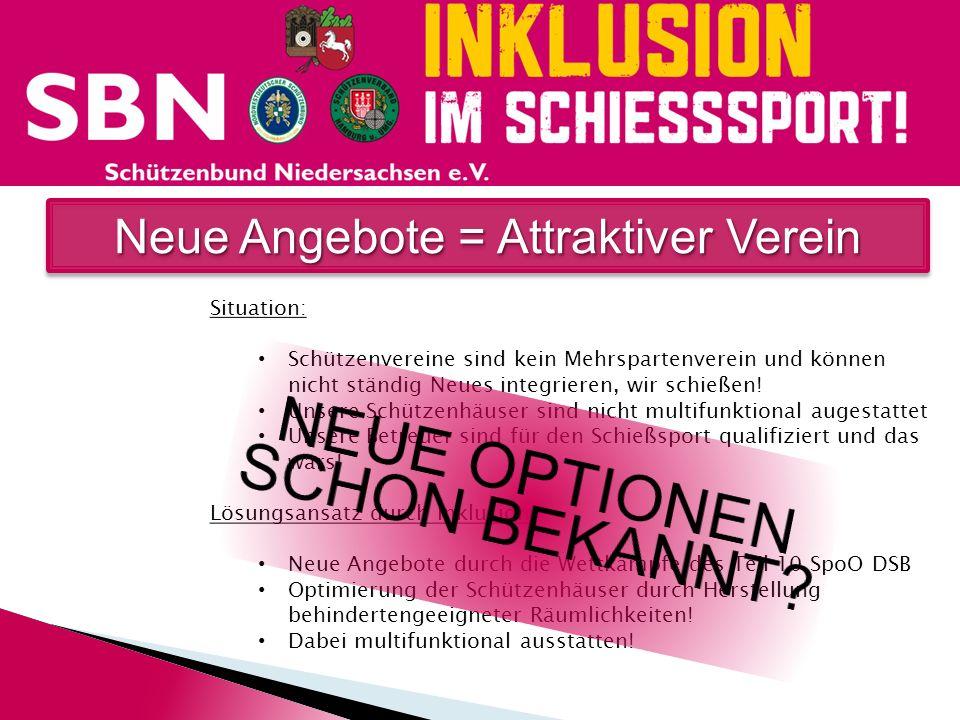 Neue Angebote = Attraktiver Verein Situation: Schützenvereine sind kein Mehrspartenverein und können nicht ständig Neues integrieren, wir schießen! Un