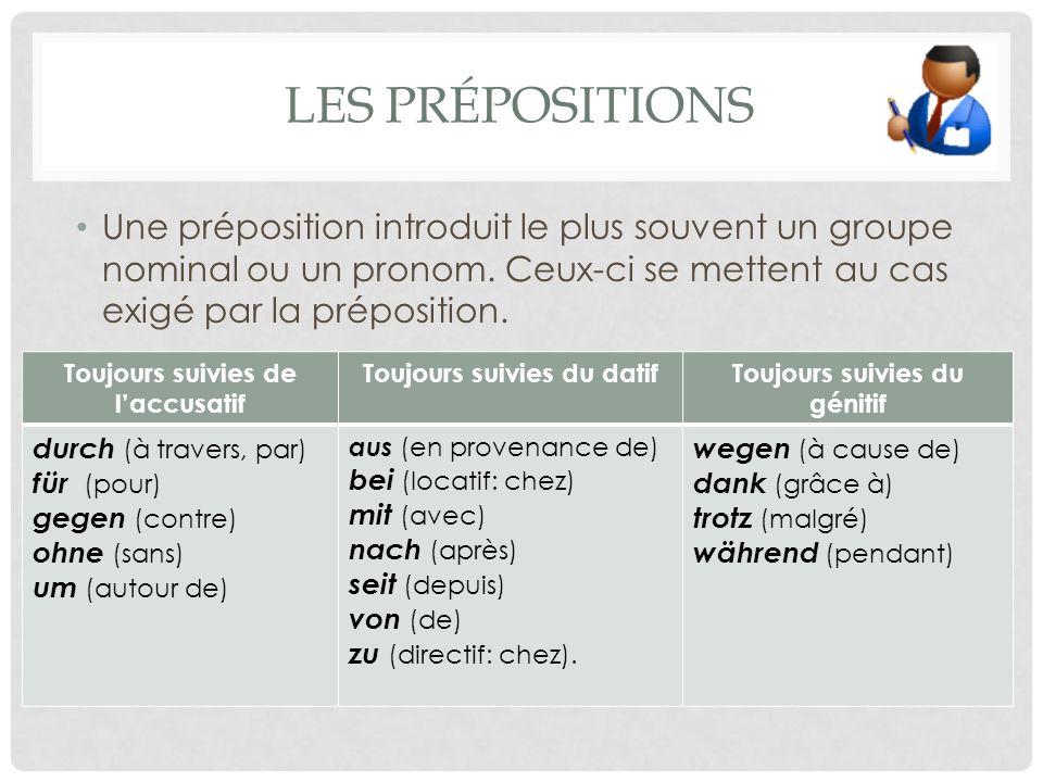 LES PRÉPOSITIONS Une préposition introduit le plus souvent un groupe nominal ou un pronom.