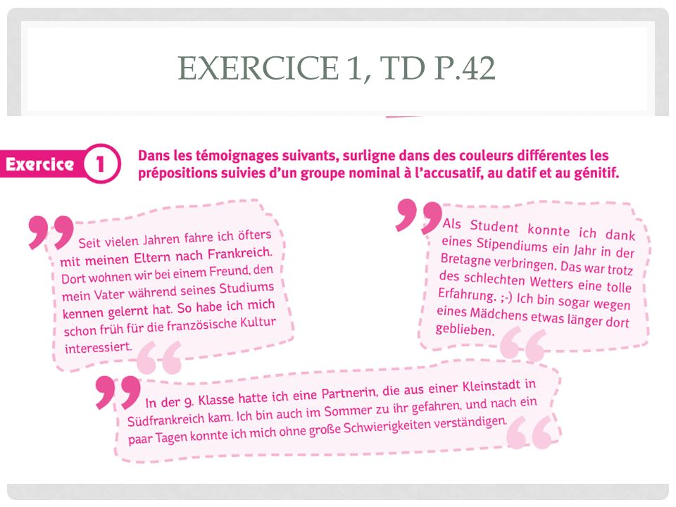 EXERCICE 1, TD P.42