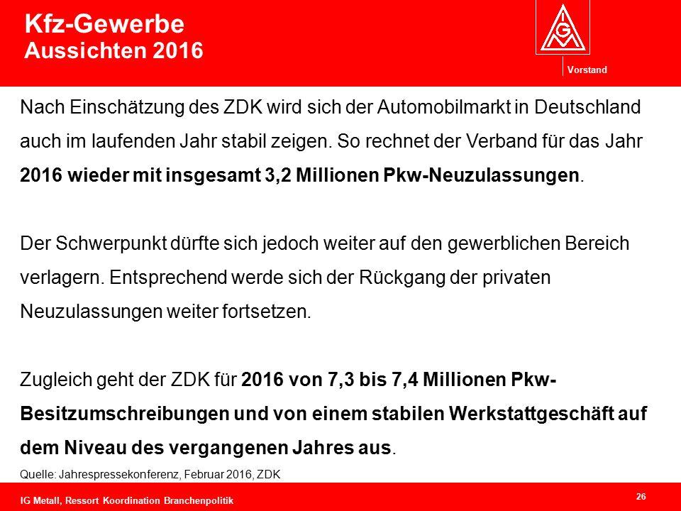 Vorstand 26 Kfz-Gewerbe Aussichten 2016 Nach Einschätzung des ZDK wird sich der Automobilmarkt in Deutschland auch im laufenden Jahr stabil zeigen. So