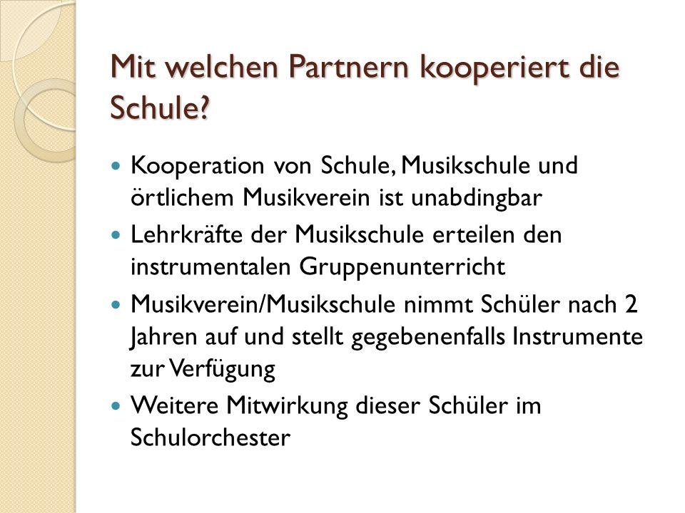Mit welchen Partnern kooperiert die Schule? Kooperation von Schule, Musikschule und örtlichem Musikverein ist unabdingbar Lehrkräfte der Musikschule e