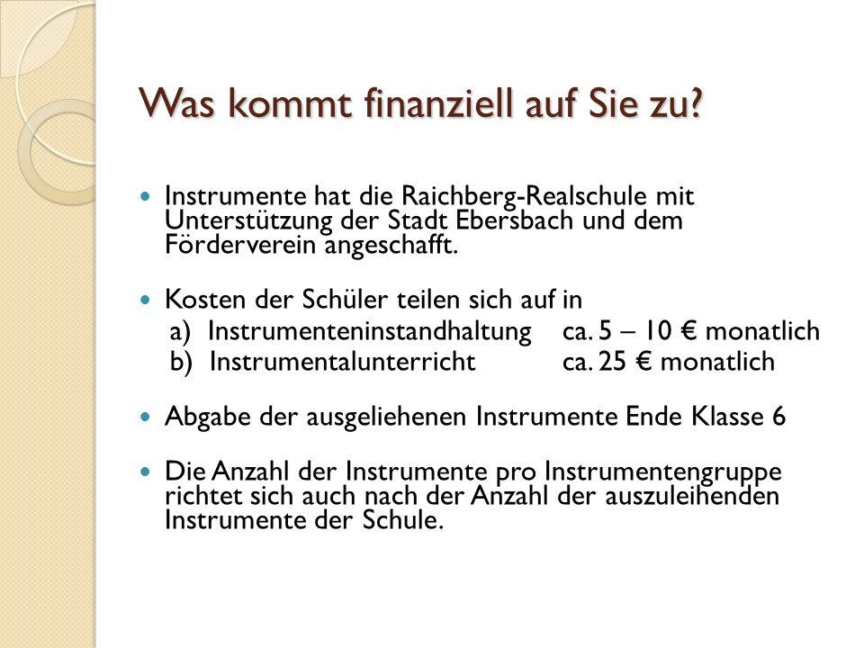 Was kommt finanziell auf Sie zu? Instrumente hat die Raichberg-Realschule mit Unterstützung der Stadt Ebersbach und dem Förderverein angeschafft. Kost