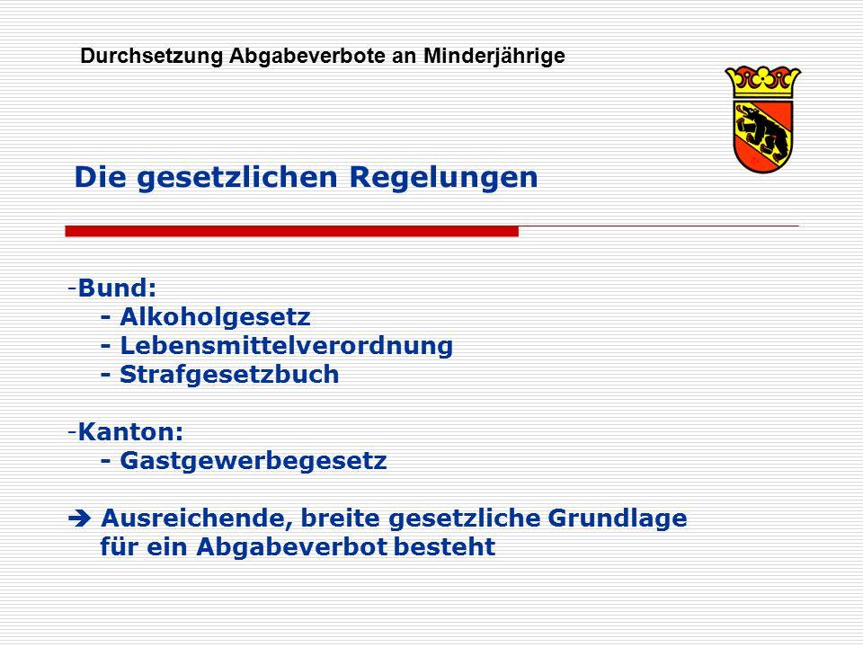 Die gesetzlichen Regelungen Durchsetzung Abgabeverbote an Minderjährige -Bund: - Alkoholgesetz - Lebensmittelverordnung - Strafgesetzbuch -Kanton: - G