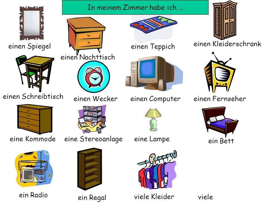 einen Spiegel einen Nachttisch einen Teppich einen Kleiderschrank einen Schreibtisch einen Weckereinen Computer einen Fernseher eine Kommodeeine Stere