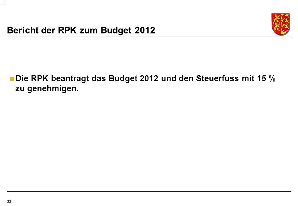Bericht der RPK zum Budget 2012 33 Die RPK beantragt das Budget 2012 und den Steuerfuss mit 15 % zu genehmigen.
