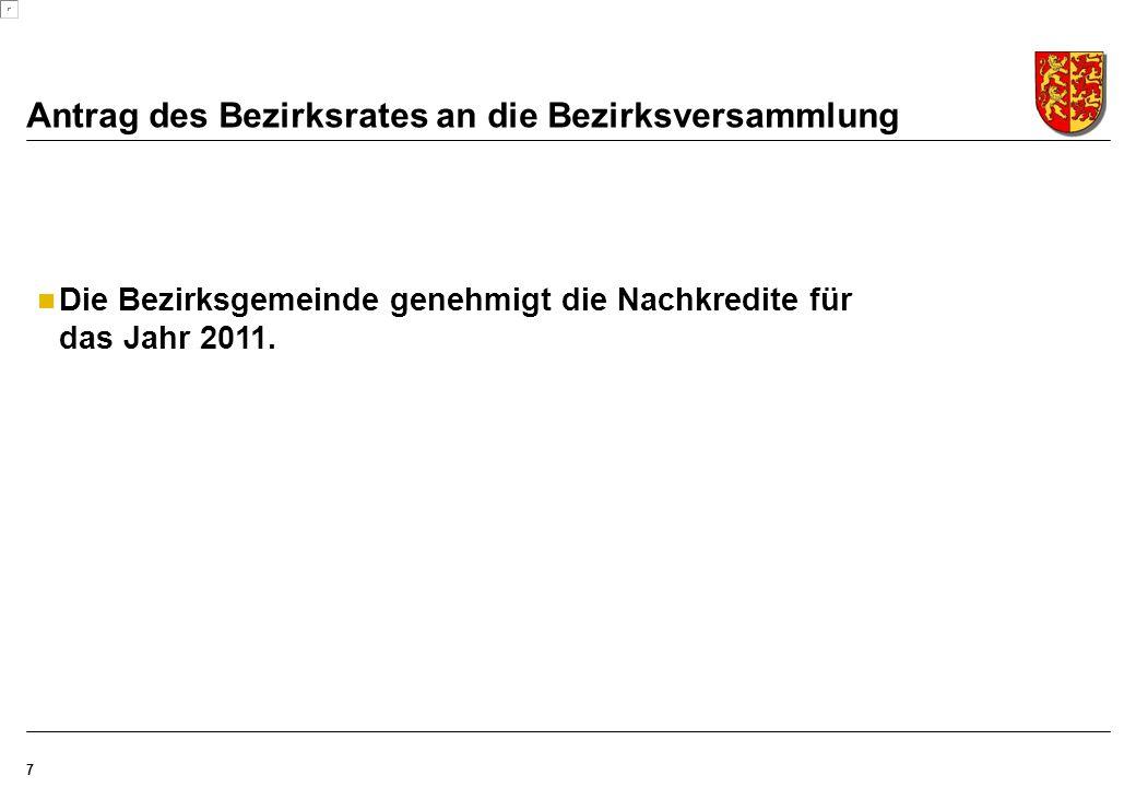 Antrag des Bezirksrates an die Bezirksversammlung 7 Die Bezirksgemeinde genehmigt die Nachkredite für das Jahr 2011.