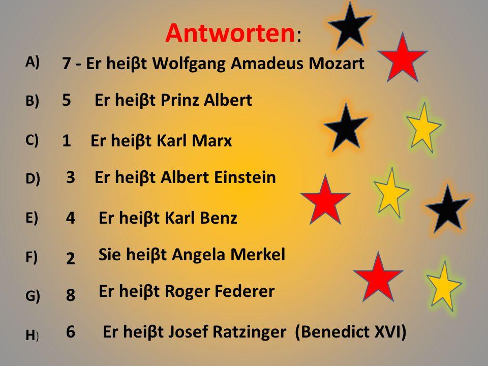 Wie heiβen sie. A BCD EFGH 1 2 3 4 5 6 7 8 Wolfgang A.