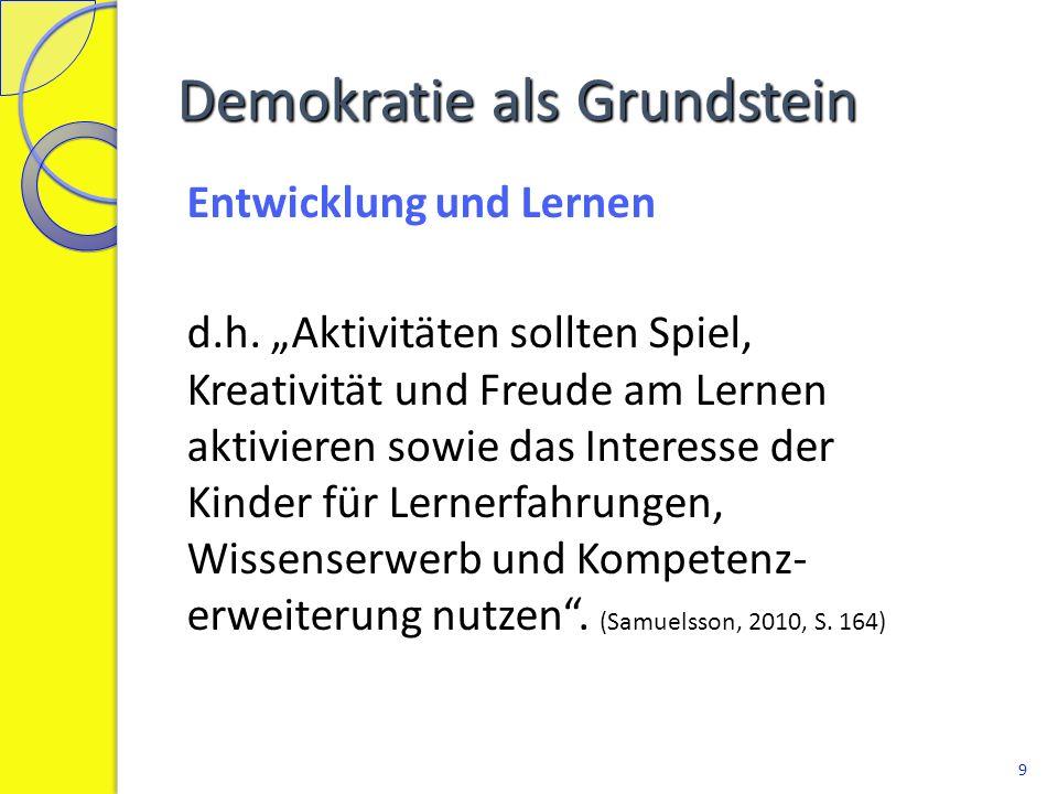 """Demokratie als Grundstein Entwicklung und Lernen d.h. """"Aktivitäten sollten Spiel, Kreativität und Freude am Lernen aktivieren sowie das Interesse der"""