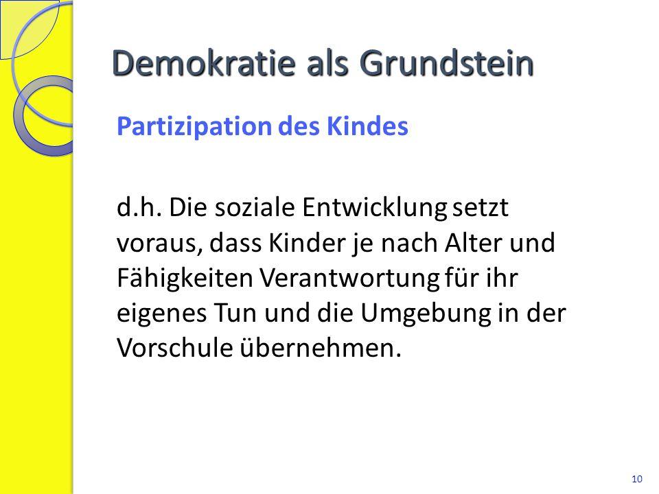 Demokratie als Grundstein Vorschule und Familie d.h.