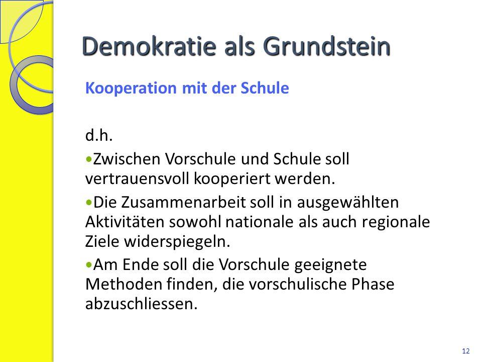 Demokratie als Grundstein Kooperation mit der Schule d.h. Zwischen Vorschule und Schule soll vertrauensvoll kooperiert werden. Die Zusammenarbeit soll