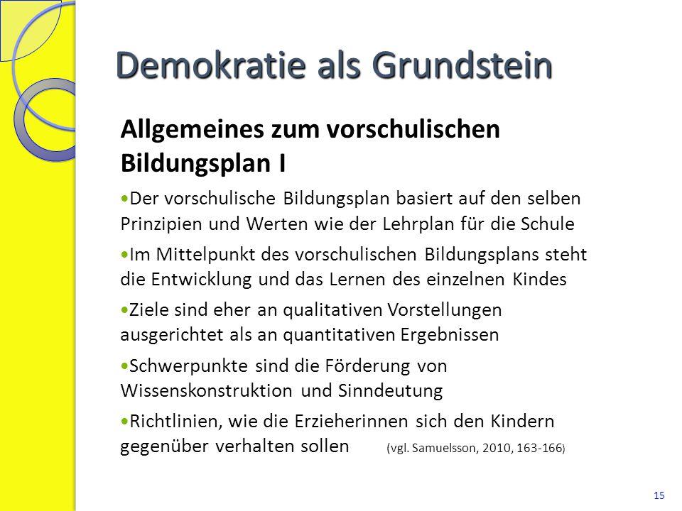 Demokratie als Grundstein Allgemeines zum vorschulischen Bildungsplan I Der vorschulische Bildungsplan basiert auf den selben Prinzipien und Werten wi