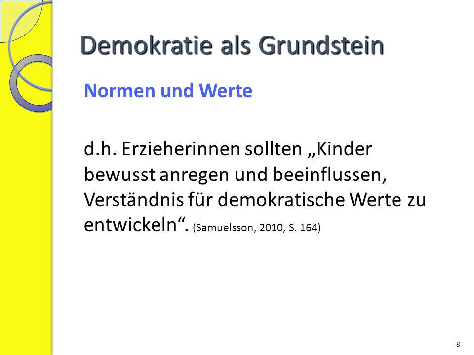 """Demokratie als Grundstein Normen und Werte d.h. Erzieherinnen sollten """"Kinder bewusst anregen und beeinflussen, Verständnis für demokratische Werte zu"""