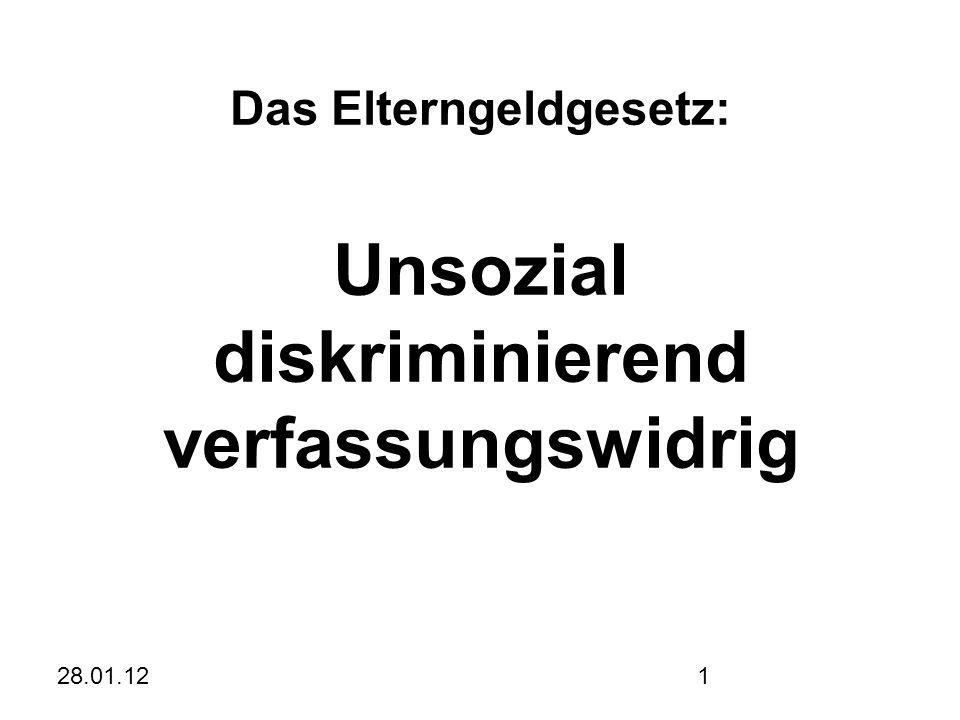 28.01.121 Das Elterngeldgesetz: Unsozial diskriminierend verfassungswidrig Johannes Resch