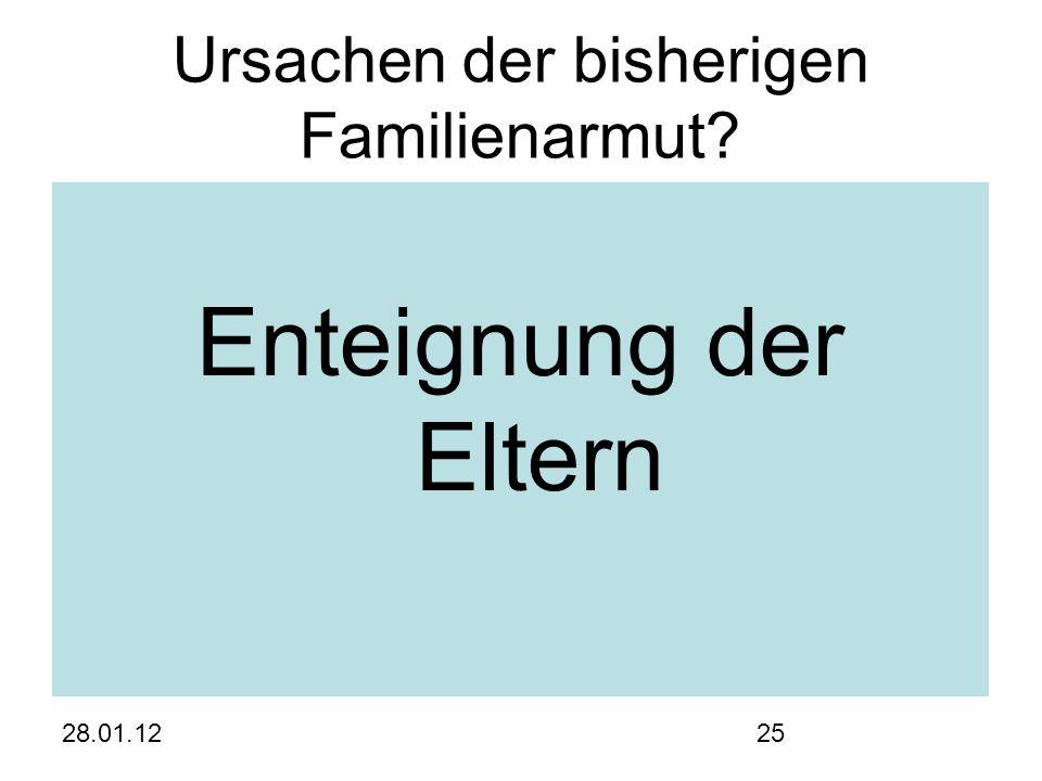 28.01.1225 Ursachen der bisherigen Familienarmut Enteignung der Eltern