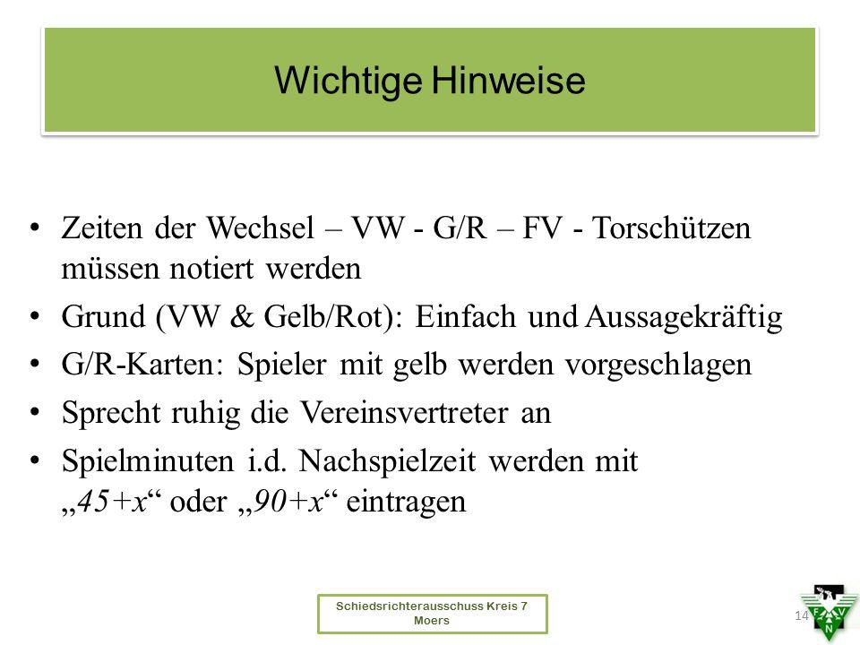 Schiedsrichterausschuss Kreis 7 Moers Wichtige Hinweise Zeiten der Wechsel – VW - G/R – FV - Torschützen müssen notiert werden Grund (VW & Gelb/Rot):