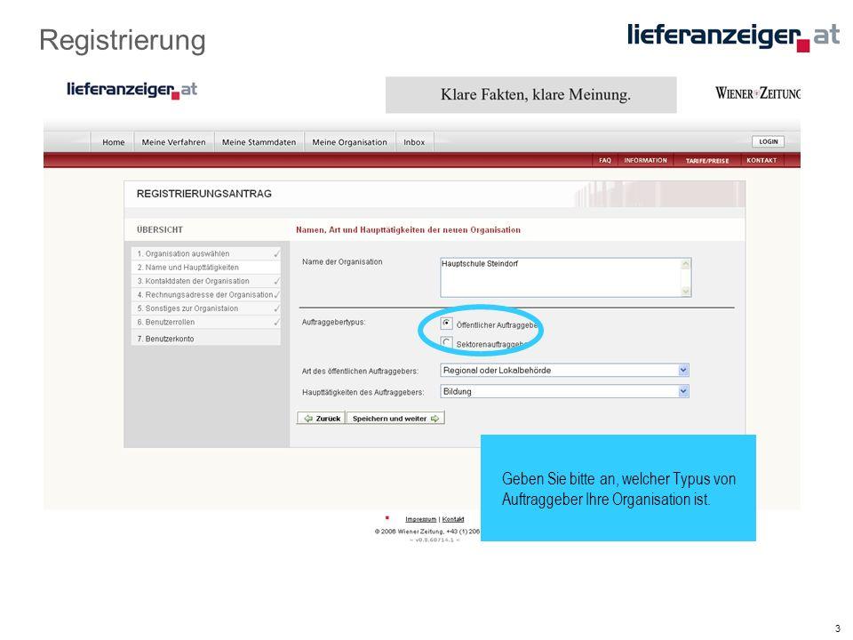 4 Registrierung Geben Sie die Adresse Ihrer Organisation…