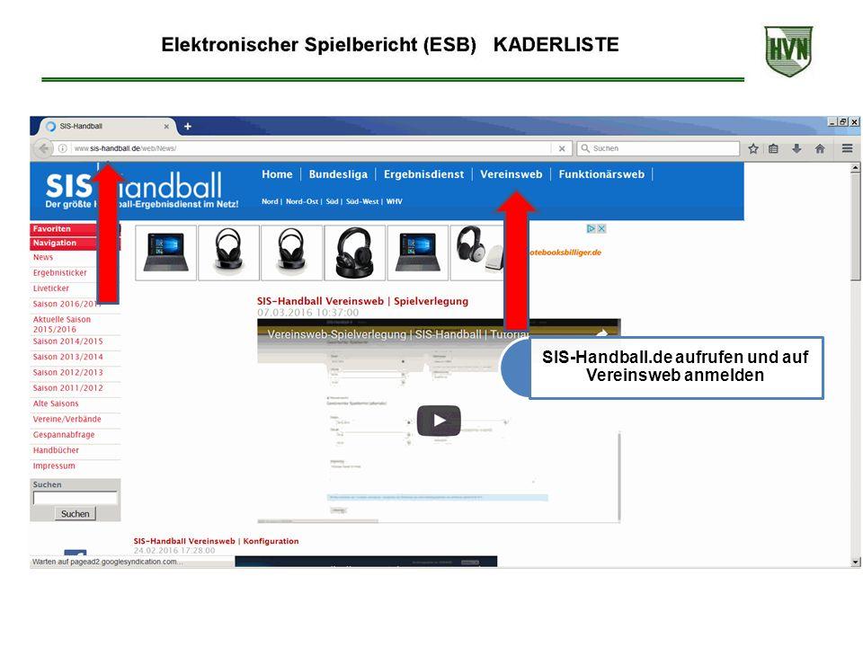 SIS-Handball.de aufrufen und auf Vereinsweb anmelden