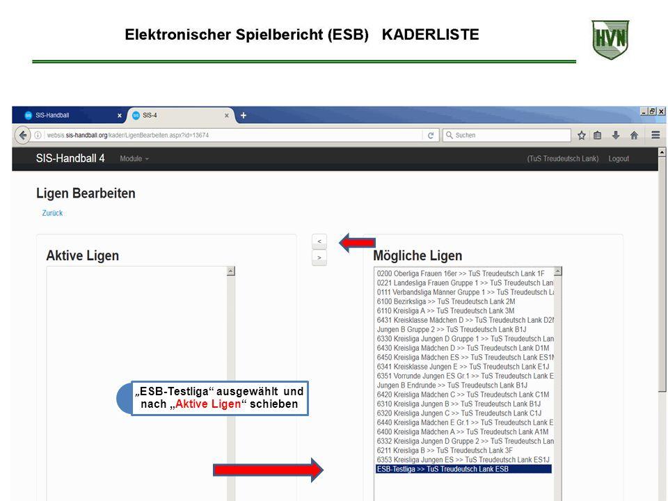 """"""" ESB-Testliga ausgewählt und nach """"Aktive Ligen schieben"""