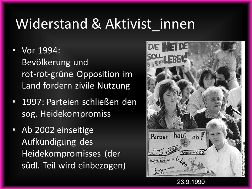 Widerstand & Aktivist_innen Vor 1994: Bevölkerung und rot-rot-grüne Opposition im Land fordern zivile Nutzung 1997: Parteien schließen den sog. Heidek