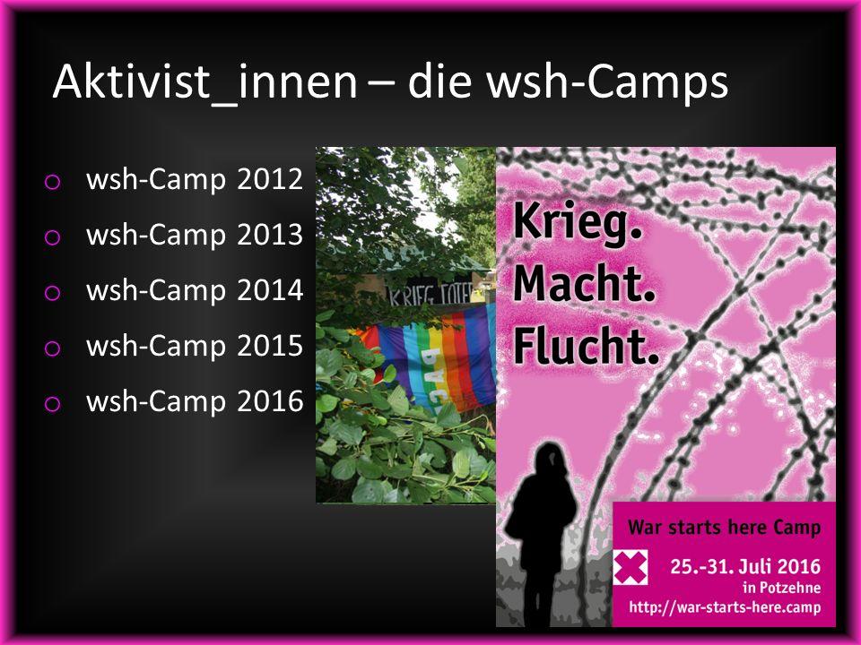 Aktivist_innen – die wsh-Camps o wsh-Camp 2012 o wsh-Camp 2013 o wsh-Camp 2014 o wsh-Camp 2015 o wsh-Camp 2016