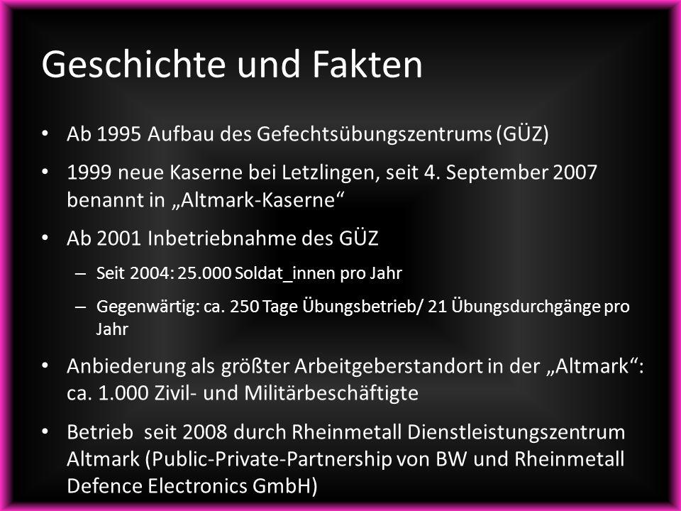 """Ab 1995 Aufbau des Gefechtsübungszentrums (GÜZ) 1999 neue Kaserne bei Letzlingen, seit 4. September 2007 benannt in """"Altmark-Kaserne"""" Ab 2001 Inbetrie"""