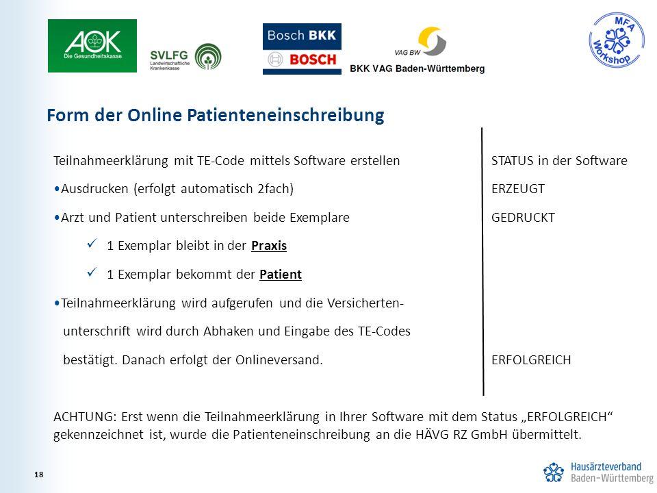Teilnahmeerklärung mit TE-Code mittels Software erstellenSTATUS in der Software Ausdrucken (erfolgt automatisch 2fach) ERZEUGT Arzt und Patient unters